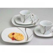 Kávová souprava Sada 18ks 6 x Hrnek na kávu 6x Podšálek 6x Talíř dezertní Scirocco Gastro