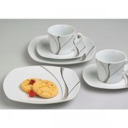 kávový set 18ks, 6x Hrnček šálka na kávu, 6x podšálka, 6x tanier plytký 20 cm Scirocco, Gastro