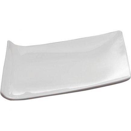 Servírovací Tác Podnos Talíř klubový 40 cm bílý Trapez Sandra Rich